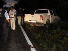 Scene of general's murder near Cancun, 3 February 2009