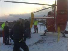 Air ambulance at scene. Photo: West Midlands Ambulance Service