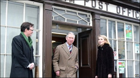 The Prince of Wales was shown the village post office of Glenarm by Viscount and Viscountess Dunluce