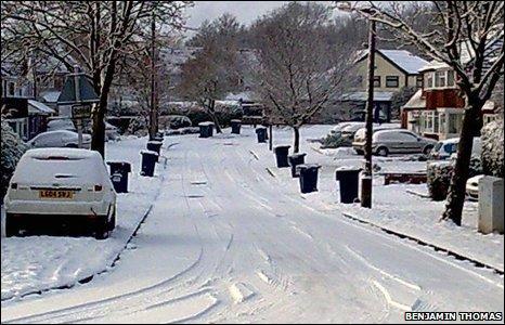A snowy street in Rubery, Birmingham