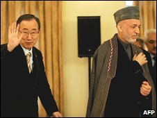 Ban Ki-moon and Hamid Karzai