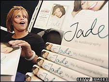 Jade Goody with her autobiography