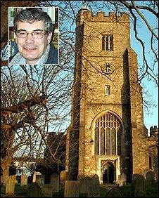 St Nicholas church, Sevenoaks. Rector Angus MacLeay (inset)