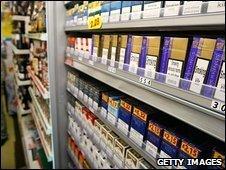 Cigarettes in shop