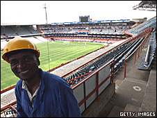 A worker at the Loftus Versfeld stadium