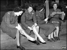 WRAC women trying on tights