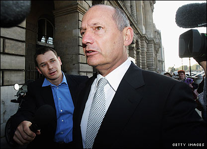 Ron Dennis attends the FIA hearing in Paris in 2007