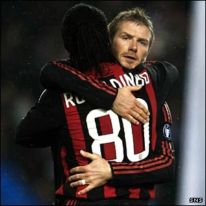 David Beckham embraces Milan team-mate Ronaldinho