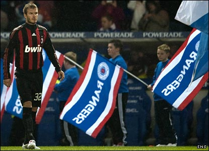 David Beckham takes to the field at Ibrox