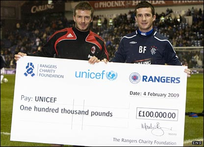 David Beckham with Rangers captain Barry Ferguson