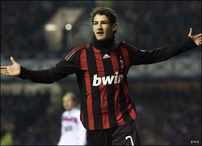 Pato celebrates Milan's equaliser