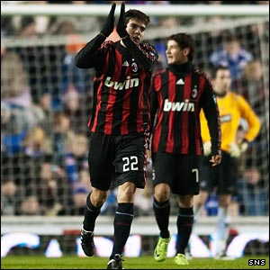 Kaka celebrates his stunning goal