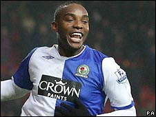 Benni McCarthy celebrates his winner for Blackburn