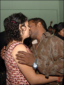 A couple kissing in a pub in India [File picture]