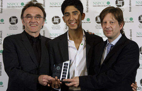 Danny Boyle, Dev Patel and Christian Coulson