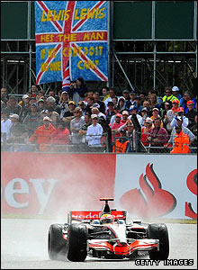 Lewis Hamilton on his way to victory in the 2008 British Grand Prix