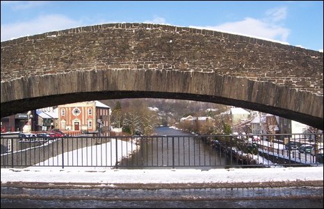 The Old Bridge in Pontypridd avoided much snow coverage, as seen by Pam Lewis