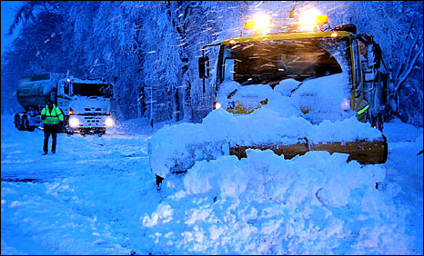 Snow plough in heavy snow on Banff to Keith road [Pic: Grant Steele]