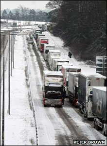 Lorries queue on the A45 near East Hunsbury.