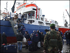 Aid ship in Tripoli, Lebanon, on 2/2/09