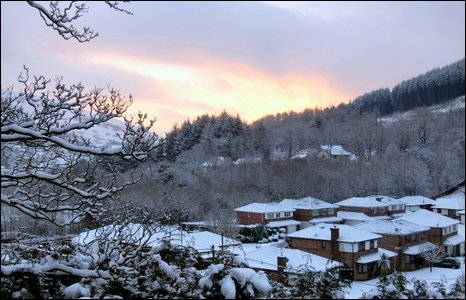 Sunrise over Cwmparc - photo by Nerys Bowen.