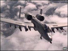 US Air Force A-10A Warthog drops away from a refueling tanker during a Nato Operation Allied Force combat mission in Germany in April 1999
