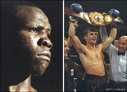 Chris Eubank (left) and Joe Calzaghe