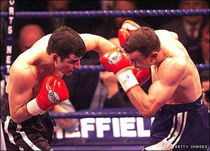 Joe Calzaghe (left) and Richie Woodhall
