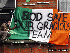 A flag supporting O'Driscoll is displayed at Croke Park in 2007