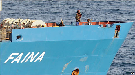 Pirate on board the MV Faina (file photo)