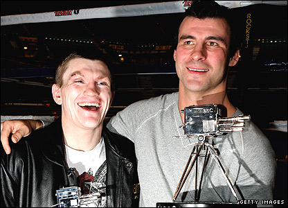 Joe Calzaghe (right) and Ricky Hatton