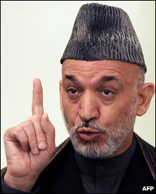 Afghan President Hamid Karzai  speaks at news conference in Kabul on February 4, 2009
