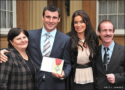 Joe Calzaghe with his dad Enzo, mum Jackie and girlfriend Jo-Emma