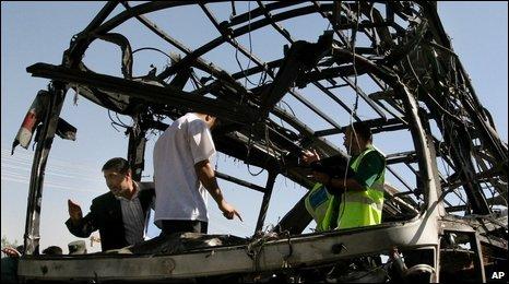 Scene of Kabul bus bomb