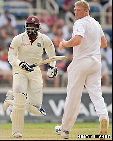 Chris Gayle (left) scores off the bowling of Andrew Flintoff