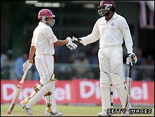 Ramnaresh Sarwan (left) and Chris Gayle