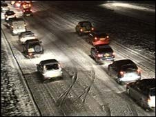 Cars stuck in snow on A38 in Devon