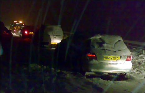 Cars stuck on the A38