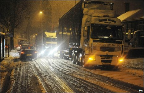 Lorries were stranded on the A37