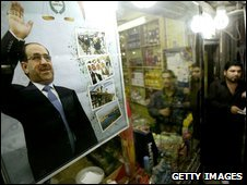 Poster of Prime Minister Nouri Maliki in Baghdad, Iraq, on 5/2/09