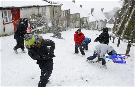 Children have a snowball fight