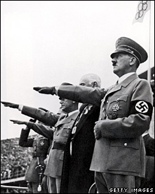Adolf Hitler salutes competitors at the opening ceremonies of the Olympic Games in Berlin on 1 August 1936
