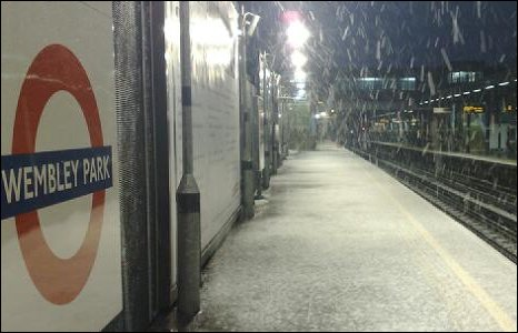 Snowy tube station