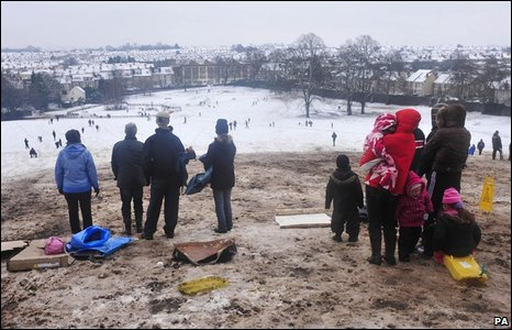 Sledgers gather at the top of at Arnos Vale park, Bristol