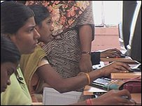 Indian girls using computers