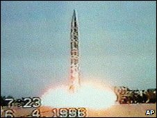Pakistan tests a Ghauri nuclear-capable long-range missile (May 1998)