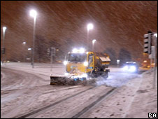 Snowplough at work in Exeter