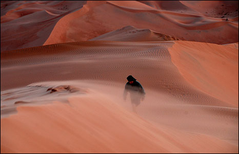 Approaching Oman's highest dune