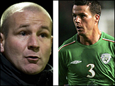 St Mirren boss Gus MacPherson and defender Ian Harte