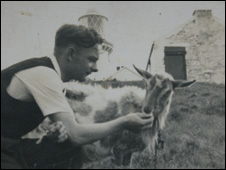Bill O'Brien with the South Stack goat